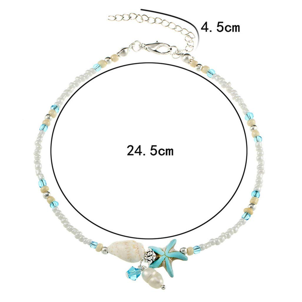 WEILYDF Women Anklet Unique Simple Starfish Pendant Rice Beads Anklet Boho Style Eternity Foot Chain for Summer