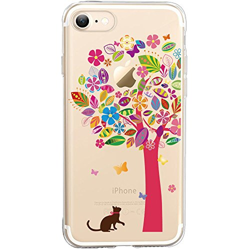 Price comparison product image iPhone 7 Case, SwiftBox Cute Cartoon Case for iPhone 7 (Cat and Magenta Tree)