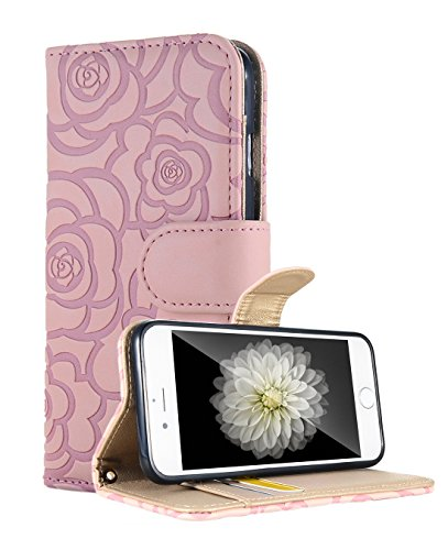 iPhone 6s Plus Wallet Case, FLYEE Fashion Premium Vintage Embossed Flower Design Flip Wallet Shell PU Leather Magnetic Cover Skin with Wrist Strap Case for iPhone 6s Plus 5.5 Pink