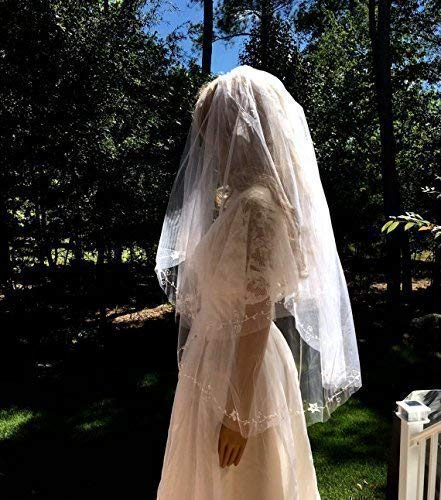 Bridal Wedding Beaded Veil, Two Tier Bridal Veil by cmtjewelrly