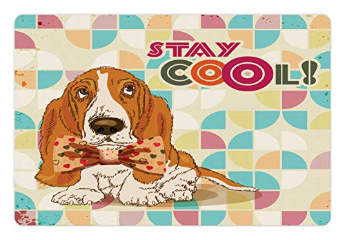 Ambesonne Stay Cool Pet Mat for Food and Water, Funny Basset Hound Dog with Tie Bow Hipster Colorful Background Print, Rectangle Non-Slip Rubber Mat for Dogs and Cats, Multicolor