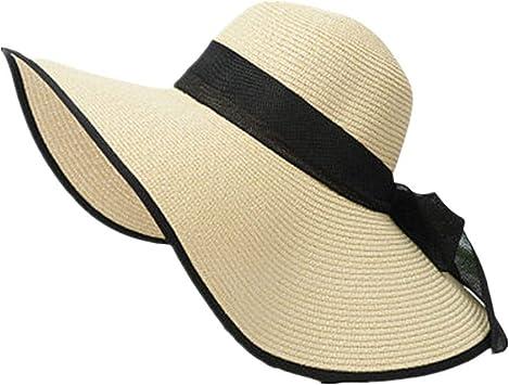 breiter Rand UV-Schutz Roll Up Sommerh/üte f/ür Frauen DWQuee Stroh Sonnenblende Hut