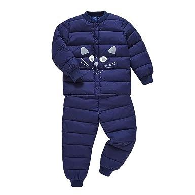 LSERVER Baby Boy Girls 2 PC Soft Down Home War Snowsuit Winter Indoor Coat Set