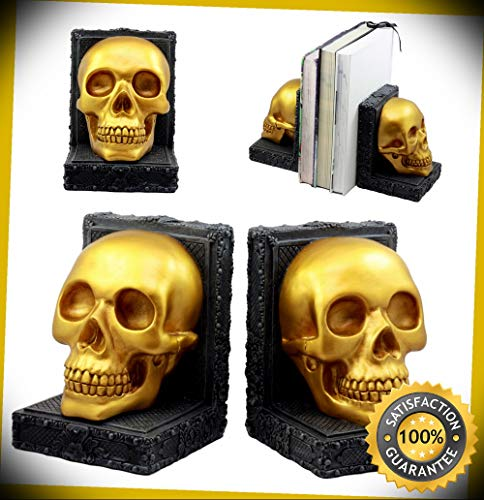 KARPP Pirate's Treasure Golden Skull Bookends Set 7''H Medieval Floral Gothic Statue Perfect Indoor Collectible Figurines
