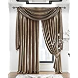 Venezia Plain Velour/Velvet Lined 3 Curtains (Pair) - Mink - 90 x 90 by The Textile House