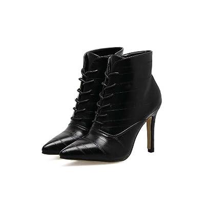 10cm Stiletto Scarpin Pointed Toe Shoelace Bootie Bottes de cheville Chaussures de mode Femmes Handsome Pure Color Zipper Stitching Bottes courtes Court Shoes Eu Taille 34-40