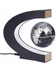 KKmoon C Forma Magnetico Levitazione Galleggiante Planisfero Globe Rotante con Luci a LED per Imparare Istruzione / Insegnamento Demo / Casa e Office Desk Decoration / Regalo Creativo