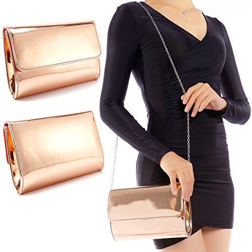 Mano Desmontable Tipo Clutch con Cadena Mujer Cuero PU Oro para Tornasolado Rosa de Bolso wfPqp55