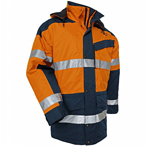 Blaklader Workwear High Vis Parka Coat Orange//Navy Blue XXXL