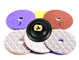 GoYonder 4 Inch 3 Step Wet Polishing Pads with Buffer, Rubber Backer for Granite Concrete Marble Stone