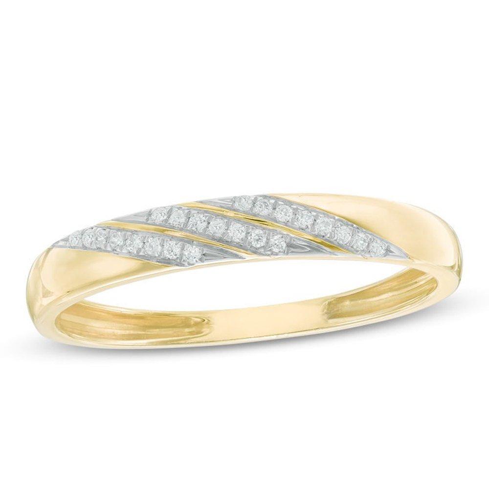 Silvercz Jewels 0.1 Ct Round Cut Sim. Diamond Accent Slant Wedding Band Ring 14K Yellow Gold Fn