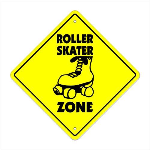 Roller Skater Crossing Sign Zone Xing   Indoor/Outdoor   20