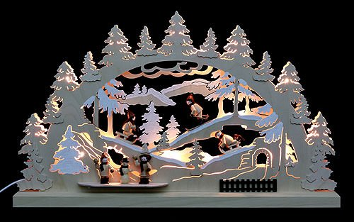 3D-Doppelschwibbogen - Winterlandschaft - 62 x 37 x 5,5 cm - Original Erzgebirge Schwibbögen - Michael Müller