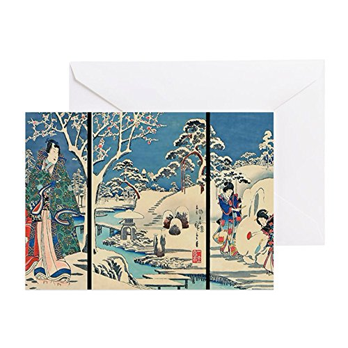 CafePress Laptop Hiroshige Garden-In-The-Snow Greeting Card, Note Card, Birthday Card, Blank Inside Matte