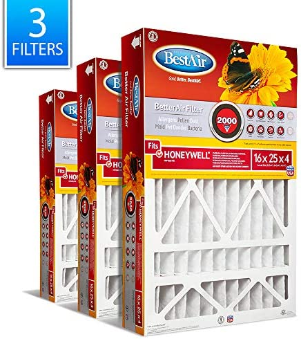BestAir HW1625-11R AC Furnace Air Filter 16 x 25 x 4 MERV 11 Removes Allergens & Contaminants Fits 100% For Honeywell Models Pack of 3