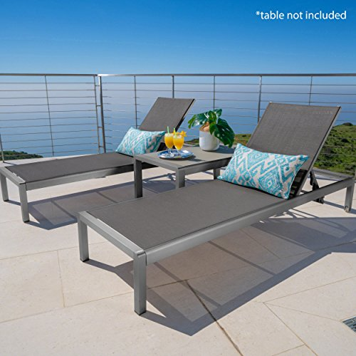 (Crested Bay Patio Furniture | Outdoor Grey Aluminum Chaise Lounge with Dark Grey Mesh Seat (Set of 2))