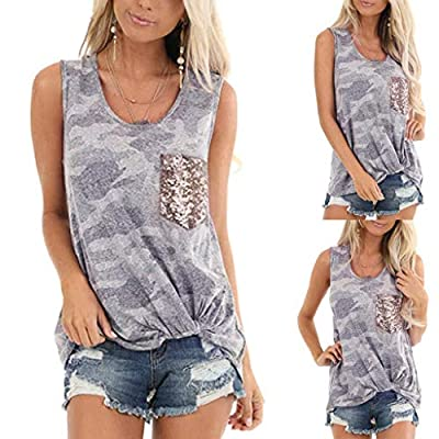 ODGear_Tops Women Shirts Summer,ODGear Lady Camouflage Front Knot Tank Top with Sequin Pocket Sleeveless Vest Tee: Clothing