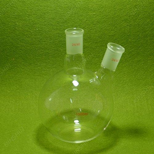NANSHIN Glassware,Flat Bottom Flask,1000ML,2 Neck,24/40,Two Neck,lab Glassware 24/40 ()