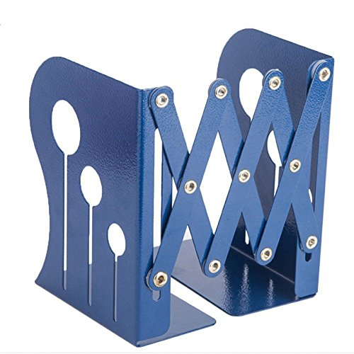 JIARI Decorative Metal Iron Bookends,Holder Stand Desk Heavy Duty Nonskid Adjustable Bookend (Blue) by JIARI