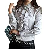 PT&Key Women's Blouse Long Sleeve High Neck Lace Ruffle Front from Office Style (Light Grey, XXXL)