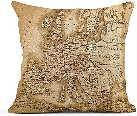 Kinhevao Cojín Antiguo Antiguo Mapa del Mundo Europa Mar Reino mediterráneo España Cojín de Lino Unido Almohada Decorativa para el hogar: Amazon.es: Jardín