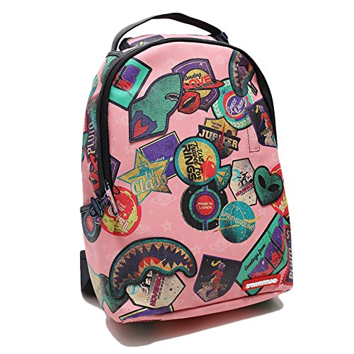 【B1775】 スプレーグラウンド SPRAY GROUND バックパック おしゃれ かっこいい レザー ワッペンアート 総柄 アメリカンポップ ピンク Fサイズ(男女兼用) (01)ピンク B07FY51LLY