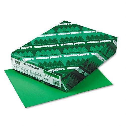 Recycled AstroBrights Colored Copy Paper, 24#, Letter, Gamma Green, 500/Rm WAU22541 by Wausau