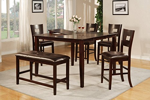Poundex F2335 & F1135 Dark Brown Finish W/ Black Vinyl Counter Height Dining Set