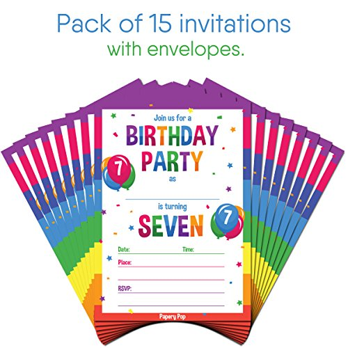 7th Birthday Party Invitations With Envelopes 15 Count