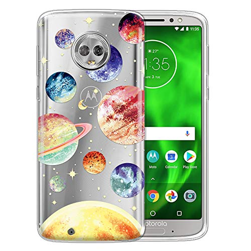 WIRESTER Case Compatible with Motorola Moto G6 5.7 inch, Clear Transparent TPU Silicone Protector Case Cover Soft Gel Skin for Moto G6 - Planet Stars