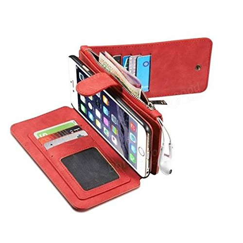 AKC-BG Caseme Vintage Leather Magnetic Detachable Zipper Wallet Case For iPhone 6/6s Plus 5.5 Inch
