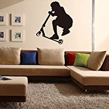 """Dnven Sports Series (23"""" x 23"""") Scooter Boy Silhouette Poster Vinyl Wall Decals Teens Boys Room Playroom Sport Themed Wall Stickers (Scooter Boy)"""