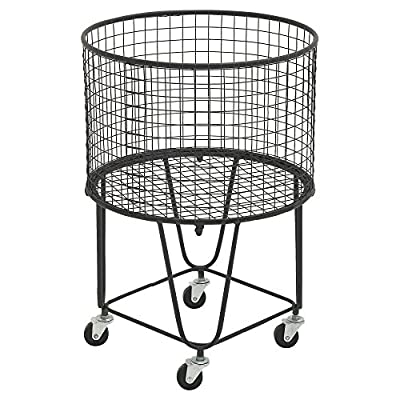 DecMode Metal Roll Storage Basket - Dimensions: 17W x 17D x 25H in. Crafted with iron Black and silver finish - living-room-decor, living-room, baskets-storage - 51rG3W1rgAL. SS400  -