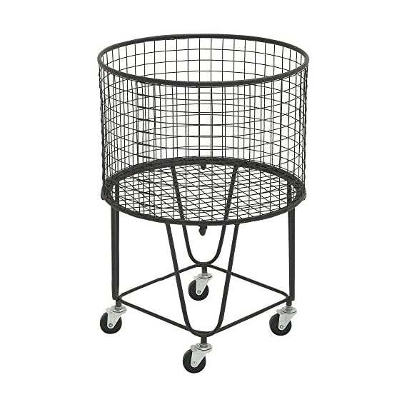 DecMode Metal Roll Storage Basket - Dimensions: 17W x 17D x 25H in. Crafted with iron Black and silver finish - living-room-decor, living-room, baskets-storage - 51rG3W1rgAL. SS570  -