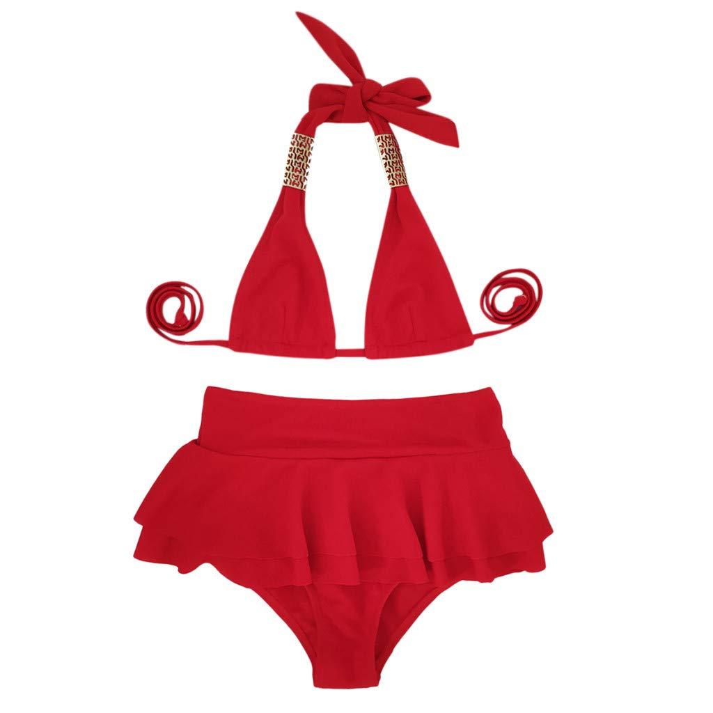 Botrong Womens Two Pieces Swimsuit Swimwear Bathing Monokini Push Up Padded Bikini High Waist
