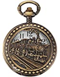 AMPM24 Skeleton Mens Steam Train Copper Dangle Pendant Quartz Pocket Watch with Chain WPK100