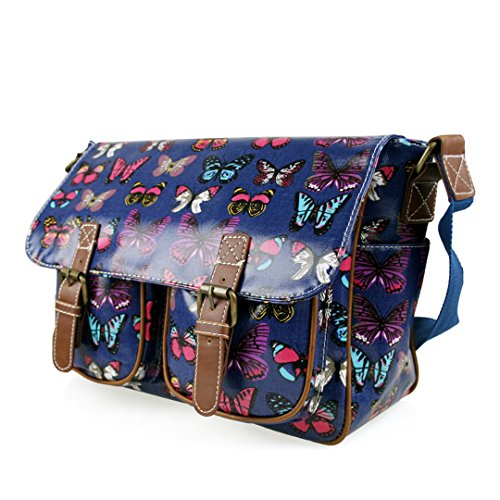 SCHOOL BODY BAG OILCLOTH SHOULDER POLKA FLORAL SKULL Navy MISS HAND DOTS CROSS LULU Butterfly OWL SATCHEL 8BxOx5q7w