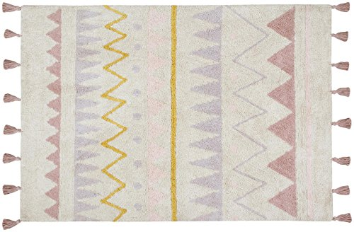 Lorena Canals Azteca Natural-vintage Nude, Blue/Black/Yellow, 4' x 5' 3'' by Lorena Canals