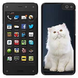 Caucho caso de Shell duro de la cubierta de accesorios de protección BY RAYDREAMMM - Amazon Fire Phone - Persa blanco de pelo largo Gato rosado de la nariz