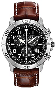 Citizen Eco-Drive Men's Watch with Brown Dial Chronograph Display and Brown Leather Strap BL5250-02L