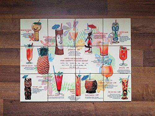 Ceramic Menu Tile - iHave4Kings Tiki Bar Drink Menu Ceramic Tile Mural 18