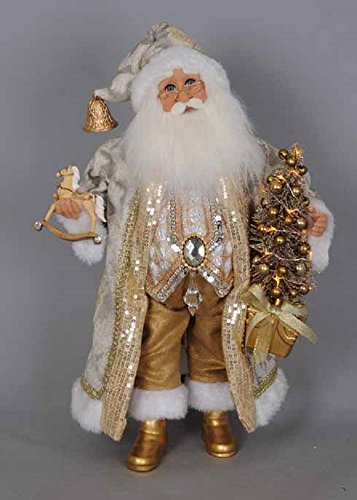 Karen Didion Lighted Golden Glimmer Santa Figurine