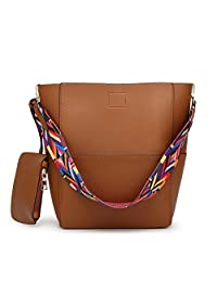 SIFINI Large Capacity Bucket Tote Handbag Shoulder Bag Crossbody Bag with Small Purse