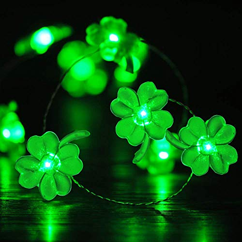 St Patrick Decorations (BOHON Decorative Lights Shamrocks LED String Lights Battery Operated with Remote 10 ft 40 LEDs Lucky Clover Handmade String Lights for Bedroom Party Feast of St. Patrick's Day Green)