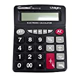 CLARA 12 Digits Large Display Big Keystroke Electronic Calculator AA Battery Powered Calculator Portable Office Desktop Calculator Black