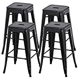 Yaheetech 30 inches Metal Bar Stools High Backless Barstool Stackable Bar Height Stools Chairs,Set of 4,Black