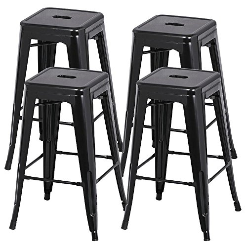 Yaheetech 30 inches Metal Bar Stools Set of 4 High Backless Barstool Stackable Bar/Counter Height Stools Chairs,Black (Patio Stools Bar)