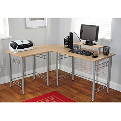 Computer L Shaped Desk With Mini Hutch, Large Work Surface, Corner Desk,  Home