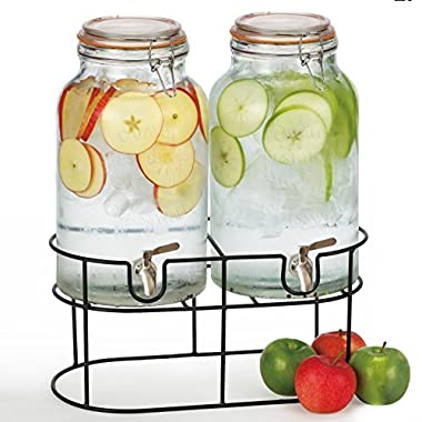 Simple Flow - Double Mason Jar Glass Drink Beverage Dispenser includes METAL SPIGOTS - 1.5 gallons each