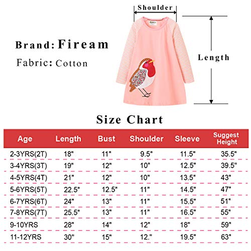 Fiream Girls Applique Cotton Casual Longsleeve Cartoon Dresses(7631TZ,9-10 Years) by Fiream (Image #5)